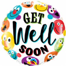 "Get Well Soon Smileys Foil Balloon (18"") 1pc"